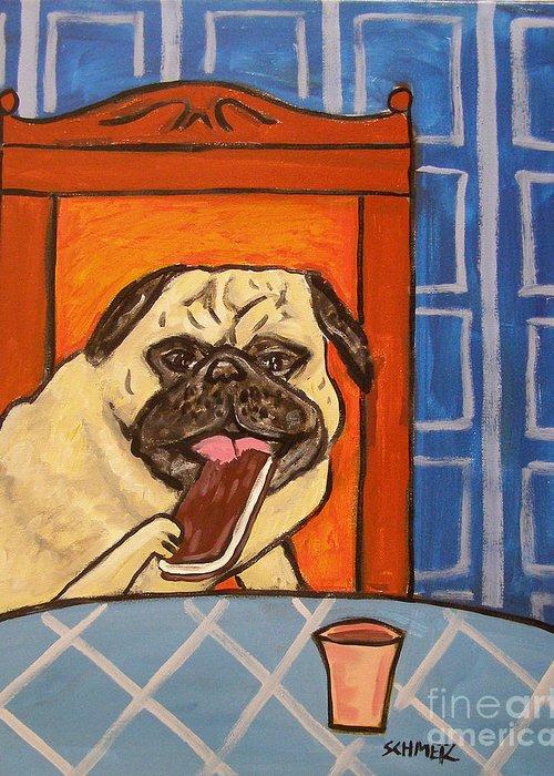 Pug Eating An Ice Cream Sandwich Greeting Card