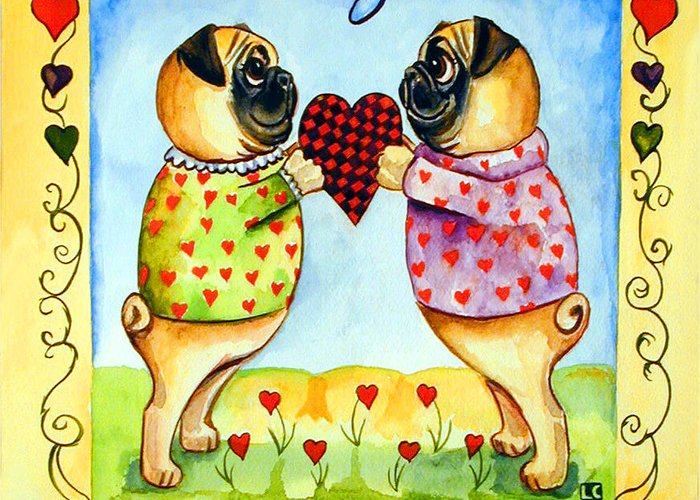 Pug Greeting Card featuring the painting Pug Love by Lyn Cook