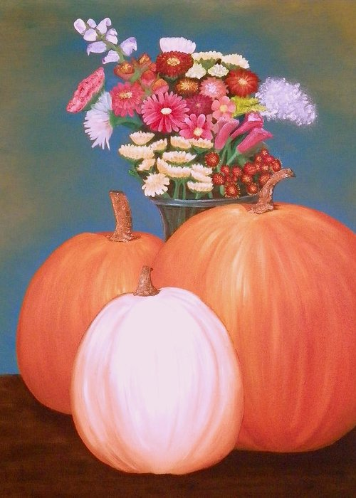 Pumpkin Greeting Card featuring the painting Pumpkin by Amity Traylor