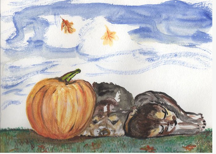 Pumpkin Greeting Card featuring the painting Pumpkin And Puppies by Pamela Wilson