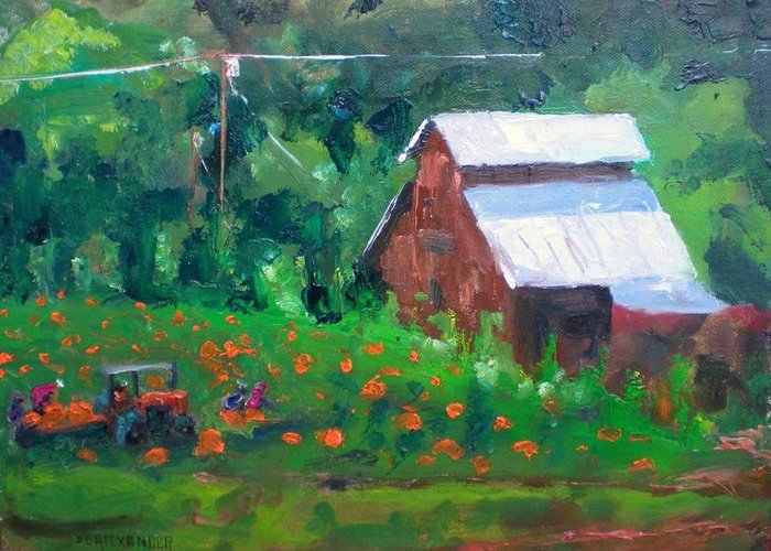 Old Barn Greeting Card featuring the painting Pumpkin Field Revisited by Bryan Alexander