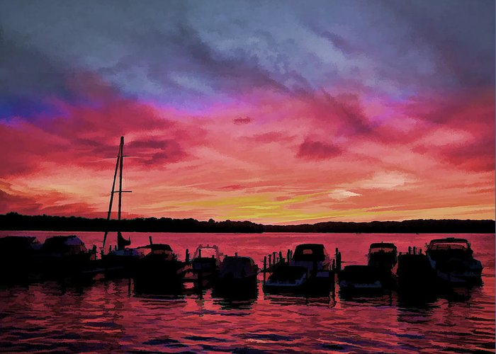 Peace River Greeting Card featuring the photograph Punta Gorda Sunset by Sandy Poore