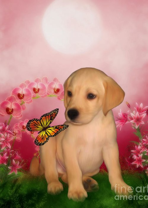 Puppies Greeting Card featuring the digital art Puppy Innocence by Smilin Eyes Treasures