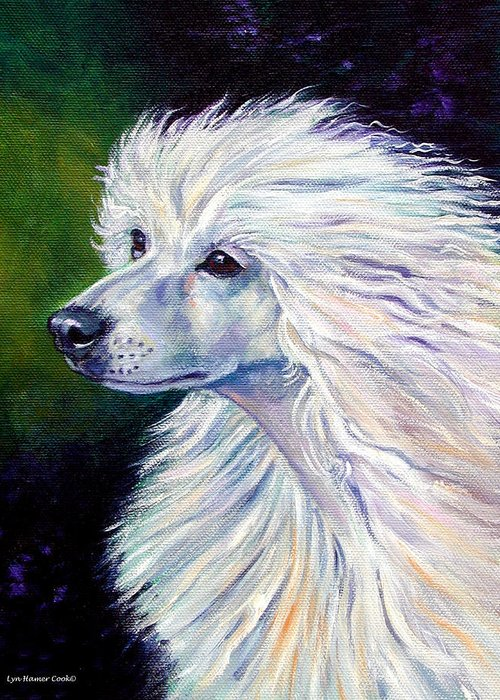 Chinese Crested Dog Greeting Card featuring the painting Pure Poetry - Chinese Crested by Lyn Cook