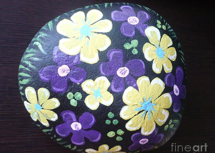 Rock Greeting Card featuring the painting Purple And Yellow Flowers by Monika Shepherdson