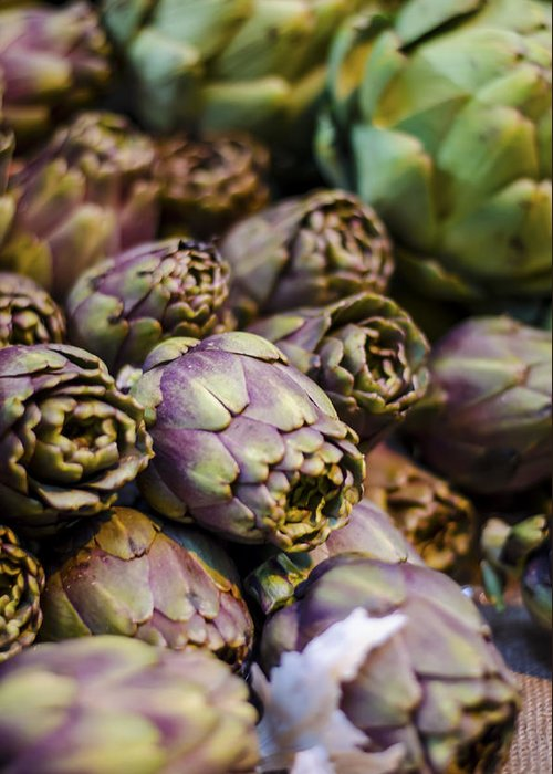 Artichoke Greeting Card featuring the photograph Purple Artichokes At The Market by Heather Applegate