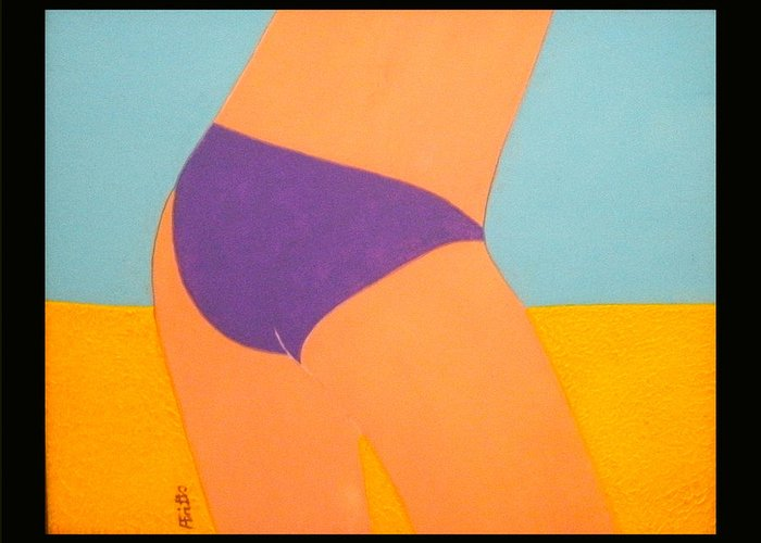 Acrylic Greeting Card featuring the painting Purple Bikini by Anneliese Fritts