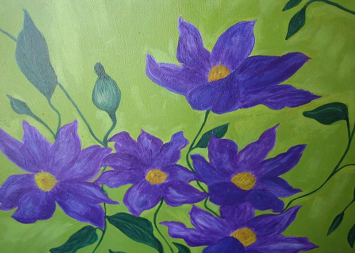 Purple Greeting Card featuring the painting Purple Glory by Berta Barocio-Sullivan