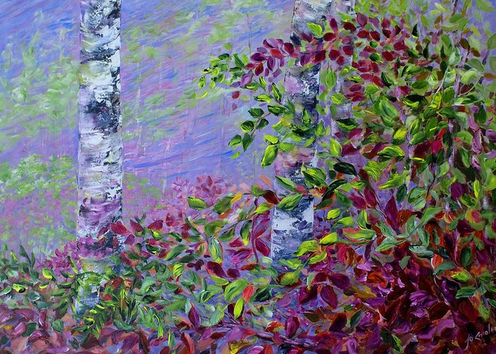Autumn Greeting Card featuring the painting Purple Haze by Joanne Smoley
