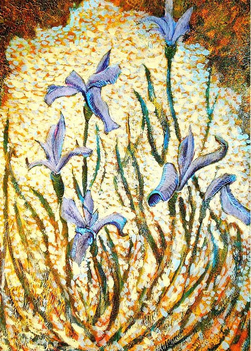 Art Greeting Card featuring the painting Purple Irises by Ion vincent DAnu
