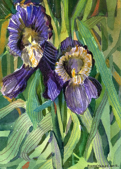 Iris Greeting Card featuring the painting Purple Irises by Mindy Newman