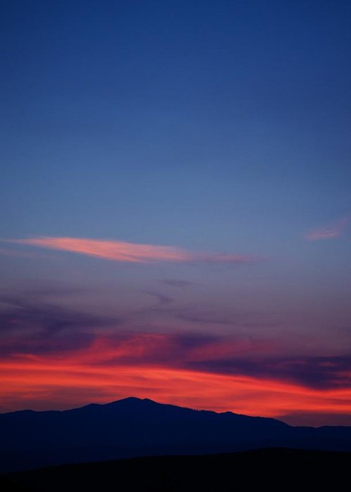 Sunset Greeting Card featuring the photograph Purple Mountain by Kevin Bone