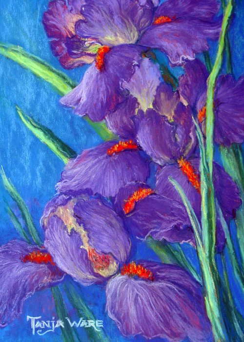 Irises Greeting Card featuring the painting Purple Passion by Tanja Ware