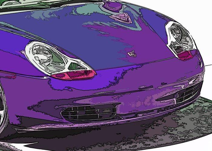 Porsche Greeting Card featuring the photograph Purple Porsche Nose 2 by Samuel Sheats