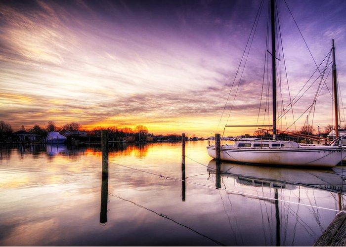 Sunrise Greeting Card featuring the photograph Purple Sunrise by Vicki Jauron