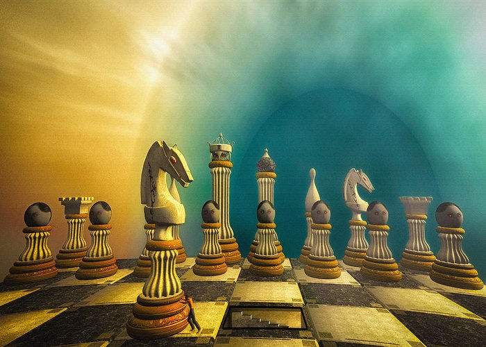 Chess Greeting Card featuring the digital art Pushing Back The Knight by Bob Orsillo