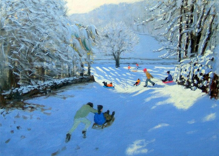 English Landscape Greeting Card featuring the painting Pushing The Sledge by Andrew Macara