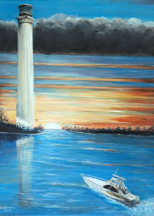 Put-in-bay Perry's Monument Greeting Card featuring the painting Put-in-bay Perry's Monument - International Peace Memorial by Bernadette Krupa