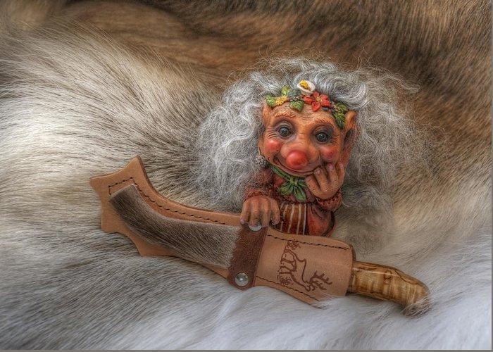 Troll Greeting Card featuring the photograph Puukko Troll by Merja Waters