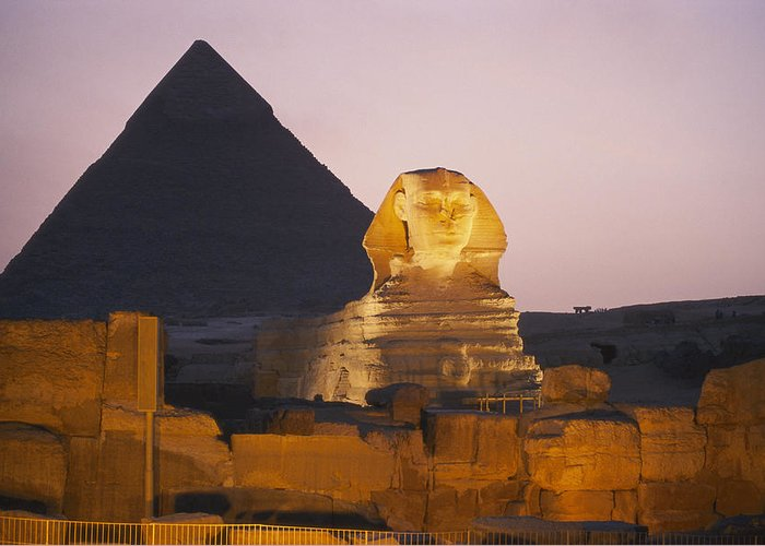 Pyramids Of Giza Greeting Card featuring the photograph Pyramids Of Giza With The Great Sphinx by Richard Nowitz