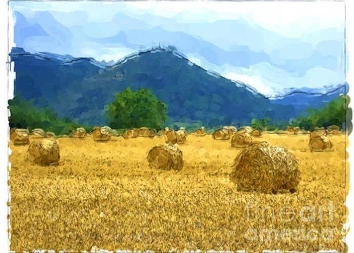 Landscapes Greeting Card featuring the painting Pyrenees - France by Franck Guarinos