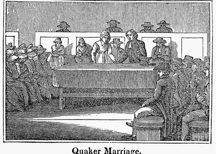 1842 Greeting Card featuring the photograph Quaker Marriage, 1842 by Granger