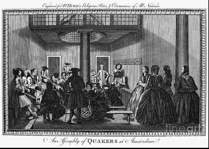 1790 Greeting Card featuring the photograph Quaker Meeting, C1790 by Granger