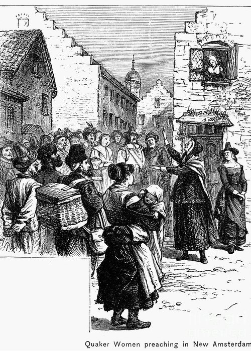 1657 Greeting Card featuring the photograph Quaker Preaching, 1657 by Granger