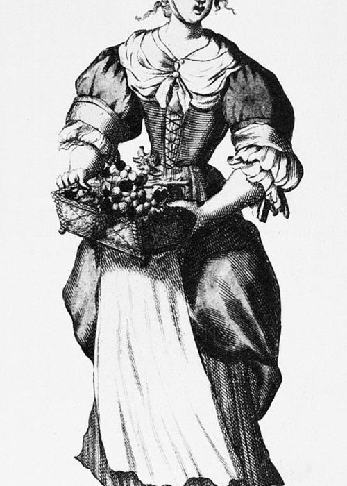 17th Century Greeting Card featuring the photograph Quaker Woman, 17th Century by Granger