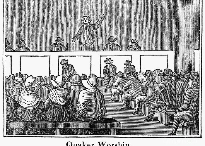 1842 Greeting Card featuring the photograph Quaker Worship, 1842 by Granger