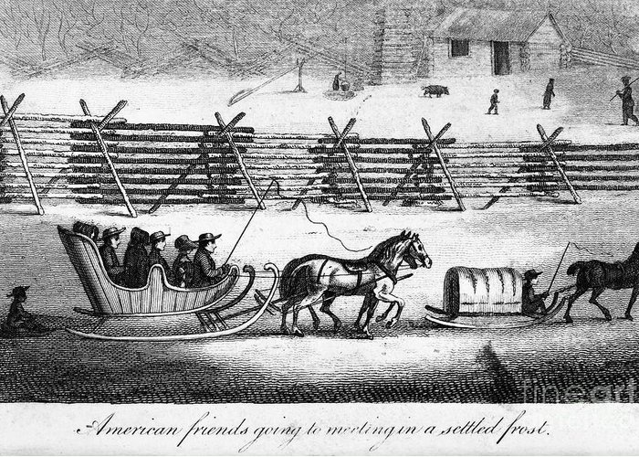 1811 Greeting Card featuring the photograph Quakers Going To Meeting by Granger