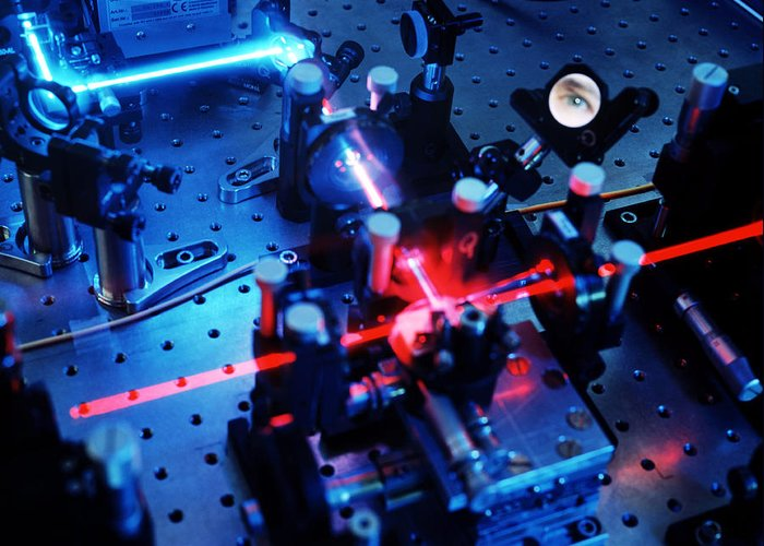 Physics Greeting Card featuring the photograph Quantum Cryptography Equipment by Volker Steger