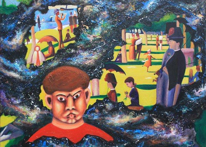 Quantum Greeting Card featuring the painting Quantum Quasimodo by Art Enrico