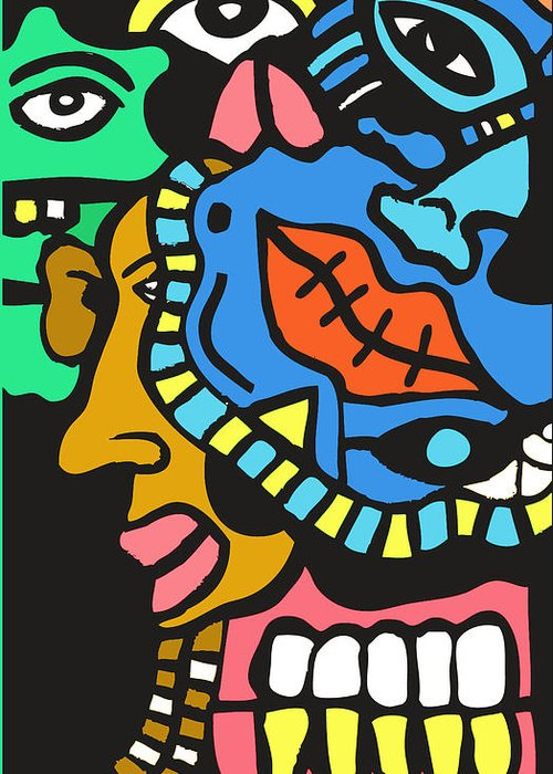 Popart Greeting Card featuring the digital art Quarter Of The Family Ties by Kamoni Khem