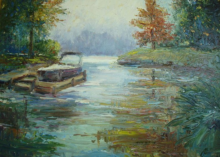 Pallet Knife Painting Greeting Card featuring the painting Quiet Place by Holly LaDue Ulrich