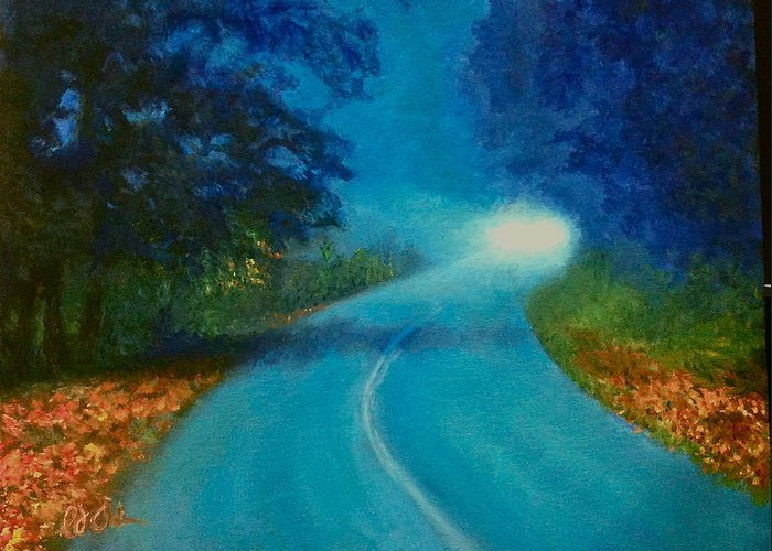 Oil Greeting Card featuring the painting Quiet Road Home by PJ Acker