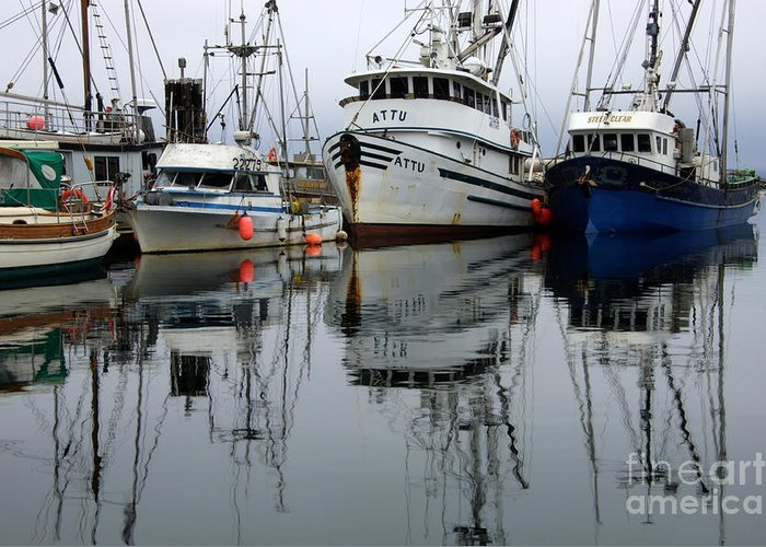 Fishing Boats Greeting Card featuring the photograph Quiet Time by Bob Christopher