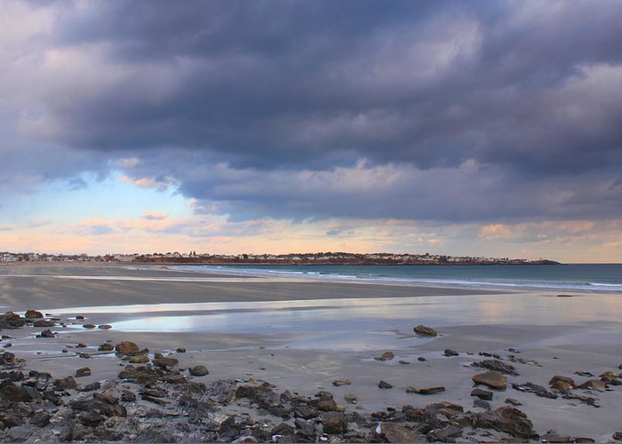 Beach Greeting Card featuring the photograph Quiet Winter Day At York Beach by John Burk