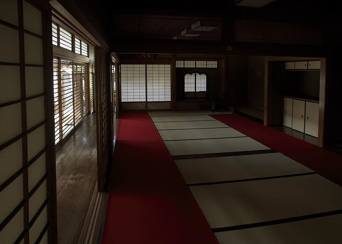 Zen Greeting Card featuring the photograph Quietude Of Zen Meditation Room - Kyoto Japan by Daniel Hagerman