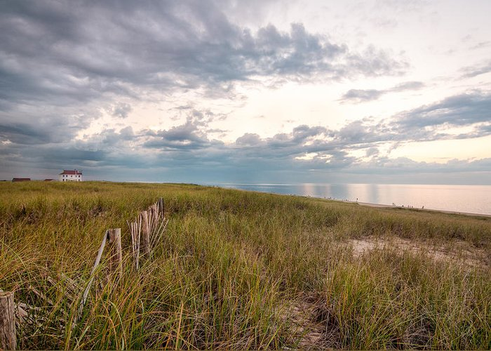 Race Point Greeting Card featuring the photograph Race Point At Sunset by Linda Pulvermacher