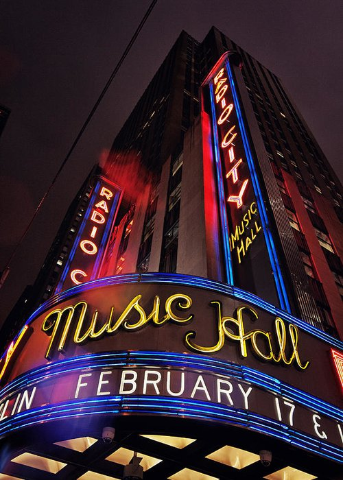 New York City Greeting Card featuring the photograph Radio City Music Hall by Benjamin Matthijs