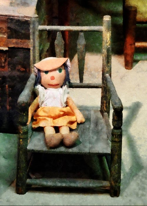 Doll Greeting Card featuring the photograph Rag Doll In Chair by Susan Savad