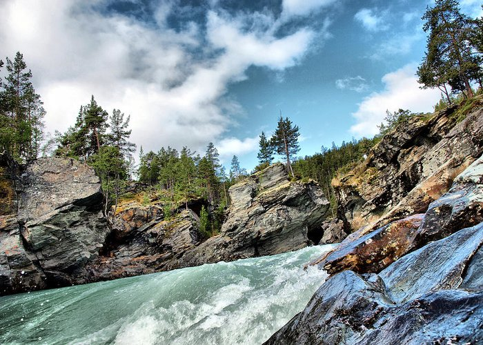 Greeting Card featuring the digital art Raging River by Afg Page