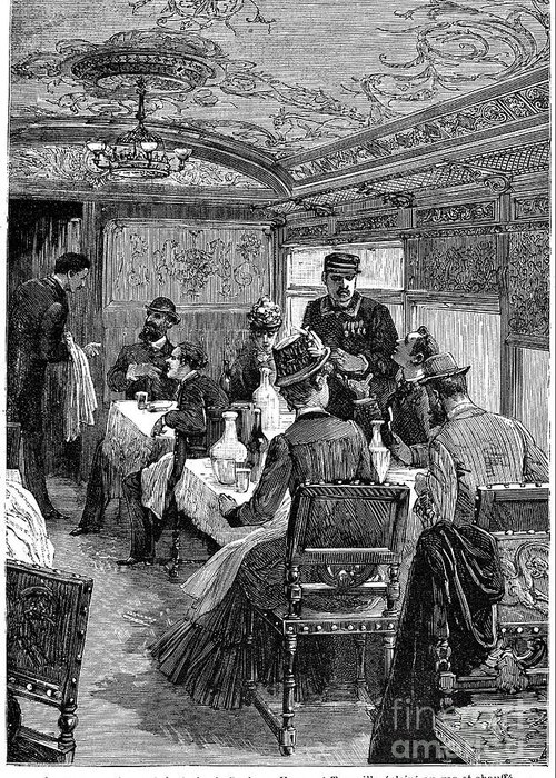 1880s Greeting Card featuring the photograph Railroad: Dining Car, 1880 by Granger