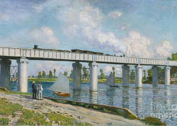 French Greeting Card featuring the painting Railway Bridge At Argenteuil by Claude Monet