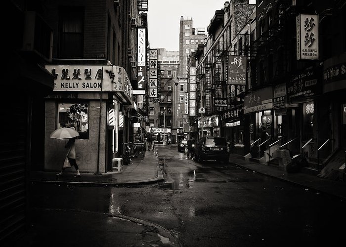 New York City Greeting Card featuring the photograph Rain - Pell Street - New York City by Vivienne Gucwa
