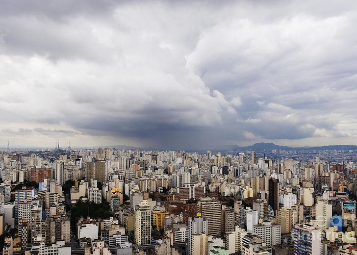 Apartment Greeting Card featuring the photograph Rain Shower Approaching Downtown Sao Paulo by Jeremy Woodhouse