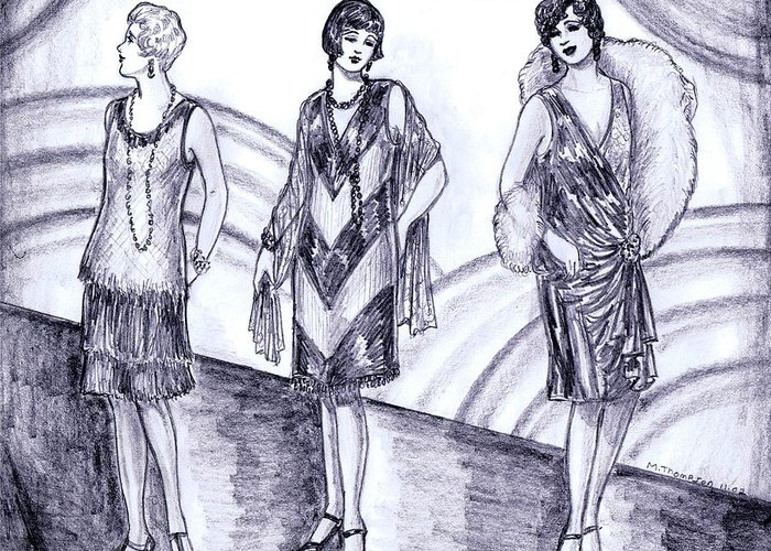 Nostalgia Greeting Card featuring the drawing Rainbow 1920s Fashions by Mel Thompson