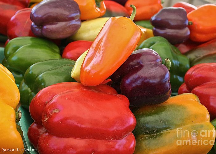 Peppers Greeting Card featuring the photograph Rainbow Bells by Susan Herber