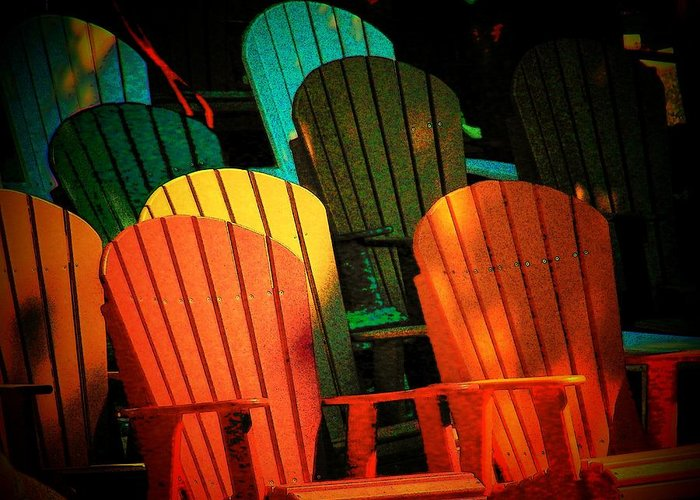 Chairs Greeting Card featuring the photograph Rainbow Chairs by Joyce Kimble Smith